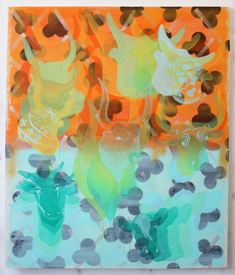 Amy Cochrane - Minoan to Friesan Cow Pattern Painting - 2016 - Acrylic on Canvas - 170x145cm